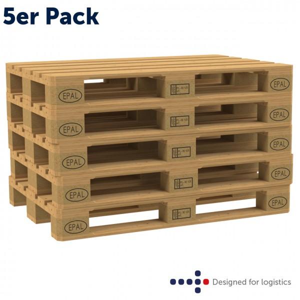 Europalette Neu - 5er Pack - DIN 15146 - UIC 435-2 - IPPC-behandelt