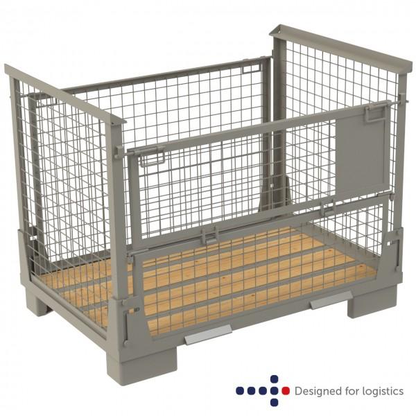 Gitterbox faltbar - 800 x 1.200 mm - Längsseite halb abklappbar