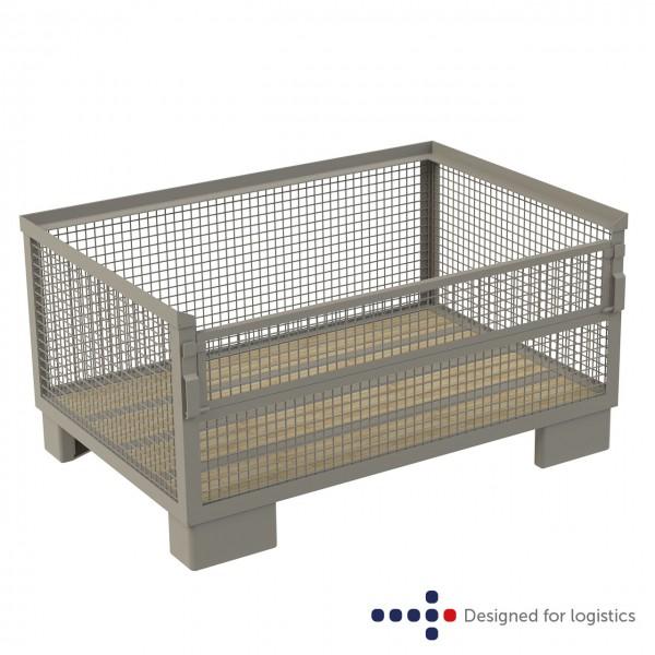 Gitterbox halbhoch - 800 x 1.200 mm - Längsseite halb abklappbar